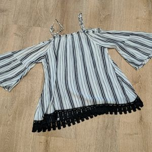 Striped lace off-the-shoulder flowy top